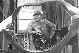 Jaws Robert Shaw viewed through shark jawbone & teeth 18x24 Poster
