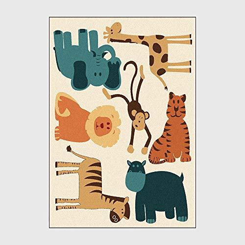HJFGIRL Teppich Moderne Niedlichen Cartoon Löwe Pferd Elefant AFFE Giraffe Weiche Flauschige Teppich Für Schlafzimmer Wohnzimmer Kindergarten Kinderzimmer Dekor (160 * 230 cm),60 * 90cm