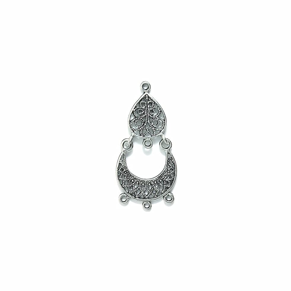Shipwreck Beads Pewter Chandelier Earring Drop with 4 Loops, Metallic, Silver, 19 by 40mm, 1-Pair