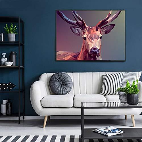 GUDOJK decoratief schilderij abstract dier schilderij Nordic Deer Poster Print muurkunst canvas afbeelding voor de woonkamer natuur Pop Art 50x70cm(20x28inch)