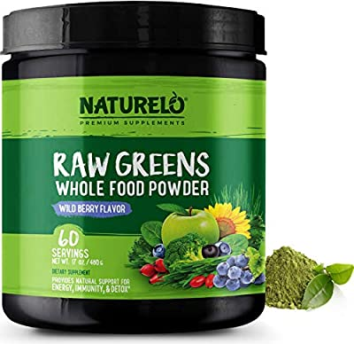 NATURELO Raw Greens Superfood Powder - Wild Berry Flavor - Boost Energy, Detox, Enhance Health - Organic Spirulina - Wheat Grass - Whole Food Nutrition from Fruits & Vegetables - 60 Servings by NATURELO