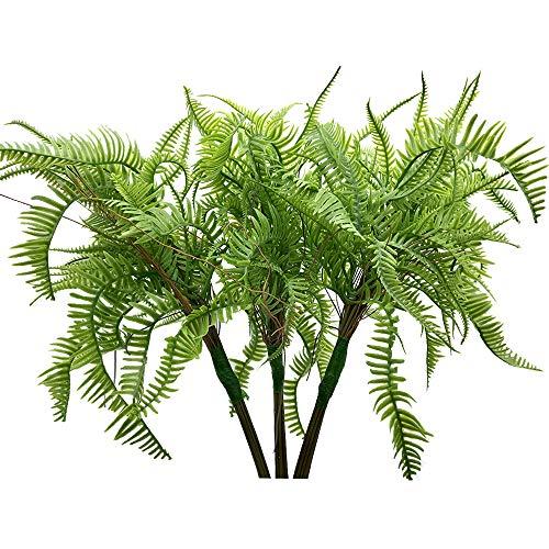Aisamco 3 Stück Kunstpflanzen Boston Fern Bush Pflanzensträucher Kunstgrün Büsche Blume in 19,7