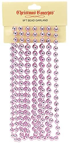 Christmas Concepts 9ft Christmas Bead Chain - Christmas Bead Garlands - Christmas Decorations (Baby Pink)