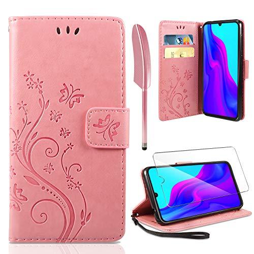 AROYI Lederhülle Huawei P30 Lite Flip Hülle + HD Schutzfolie,Huawei P30 Lite Wallet Hülle Handyhülle PU Leder Tasche Hülle Brieftasche mit Schutzhülle für Huawei P30 Lite Rosa
