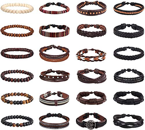 Finrezio 24 Pcs Braided Leather Bracelet Set Men Women Boho Ethnic Tribal Linen Hemp Cords String Beads Wristbands Cuff Wrap Bracelets Adjustable Handmade Jewelry