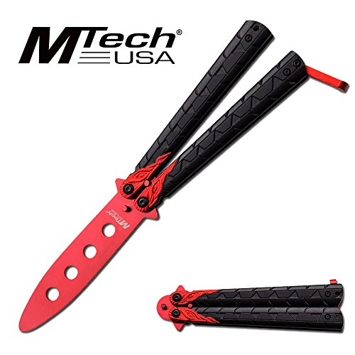 MTECH USA MT-872SL Butterfly Trainer-No Sharp Edge Dragon Balisong (Red)