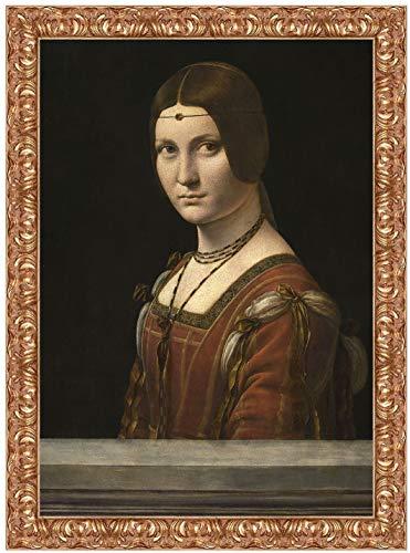 Quadro stampa su tela Leonardo da Vinci La Belle Férroniere con cornice in legno oro classico misura 63x45 CM