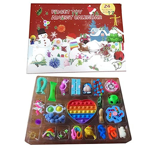 Pop It Fidget Toys, Calendrier de lAvent Fidget Toy, Calendrier de lAvent de Noël, Jouets Calendrier de lAvent, Jouets Calendrier de Noël à Compte à Rebours, Fidget Cadeau pour Enfants Adultes