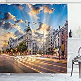 Ambesonne European Shower Curtain, View of The Streets Modern Madrid with Sky Landscape Big Old Town Heritage, Cloth Fabric Bathroom Decor Set with Hooks, 70' Long, Blue Brown
