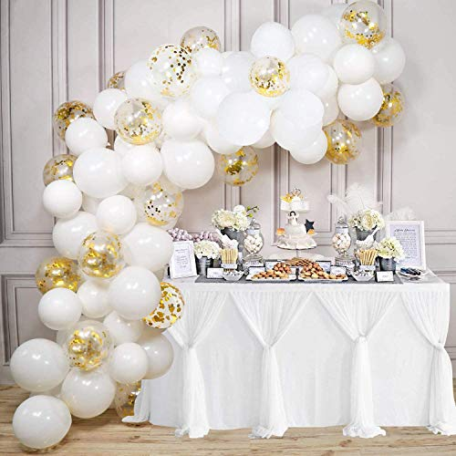 109 Pieces White Balloon Garland Arch Kit Matte White Balloons Wedding Party Decorations White Gold Confetti Balloons for Christmas Decoration Baby Shower Birthday Party Supplies
