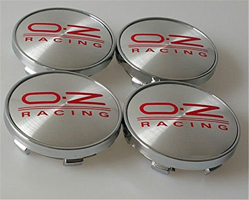 Set Of 4 oz Racing Alloy - Cilindro de insignias de centro hub Caps 60 mm rojo emblema logo O.Z (60 mm)