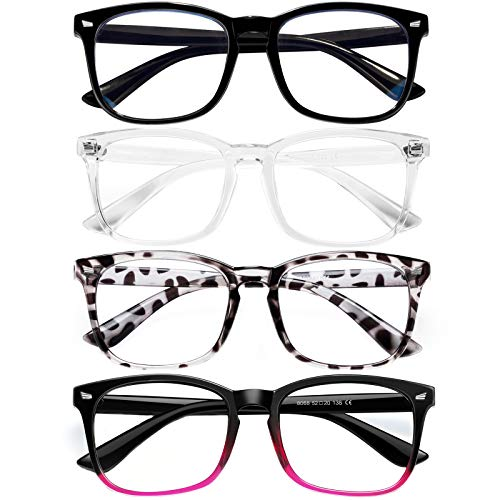 Blue Light Blocking Glasses for Women/Men/FEIDU 4-Pack Computer Gaming Glasses (4pack-black+clear+bean flower+purpl)