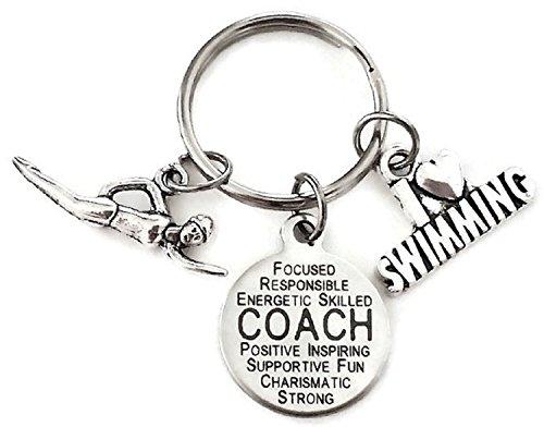 Swim Coach Keychain, Coach Charm Keychain, Swimming Coach Keychain, Swimming Keychain, Swim Keychain, Swimming Charm Keychain, Swimming Key Ring, Swim Key Ring, Swimming Coach Key Ring