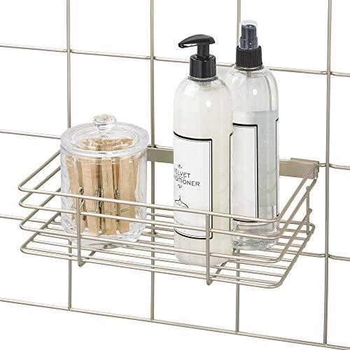 "iDesign Jayce Metal Storage Basket for Modular Grid Wall System, Organizer for Kitchen, Bathroom, Bedroom, Office, Basement, Garage 11.25"" x 7"" x 3.13"" - Satin Silver"