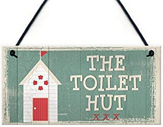 CoareL The Toilet Hut Shabby Chic Bathroom Toilet Wall Sign Vintage Seaside Plaque Beach Nautical Gifts