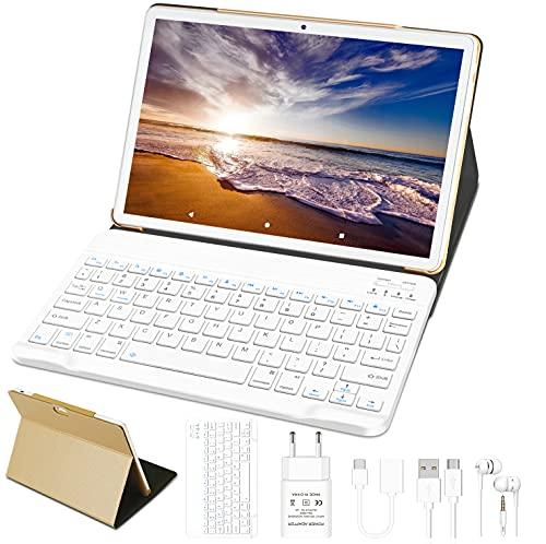 10\'\' Tablet 4 GB RAM 64 GB SSD ROM WiFi + Dual-SIM LTE Android 10 Pro GOODTEL Tablette Dual-Kamera 5 + 8 MP | WiFi | IPS | Bluetooth | MicroSD 4-128 GB | FM | mit Bluetooth Tastatur - Gold