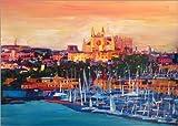 Lienzo 70 x 50 cm: Spain Balearic Island Palma de Mallorca with Harbour and Cathedral de M. Bleichner - cuadro terminado, cuadro sobre bastidor, lámina terminada sobre lienzo auténtico, impresión e...