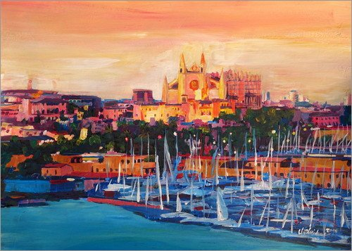 Leinwandbild 90 x 70 cm: Spanien, Balearen, Palma de Mallorca mit Hafen und Kathedrale von M. Bleichner - fertiges Wandbild, Bild auf Keilrahmen, Fertigbild auf echter Leinwand, Leinwanddruck