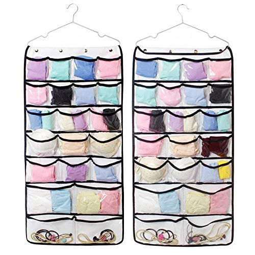 Hanging Jewelry Organizer, Dual Sided Closet Organizers , Earrings Bracelet Necklace Socks Pantyhose Storage Display Bag (Transparent 42 Pocket)