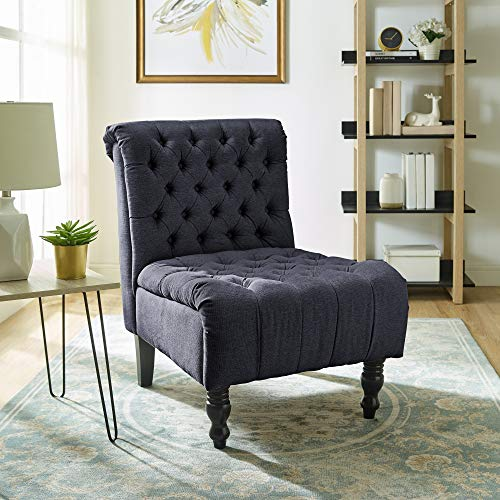 Classic Brands Aerial Upholstered Armless Solid Hardwood Slipper Accent Chair, Charcoal