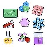 Cute Unique Enamel Pin Set - Novelty Art Enamel Lapel Pin Set - Funny Cartoon Enamel Brooch Pin Pack For Girls Boys Women Men (Science pins-9pcs)