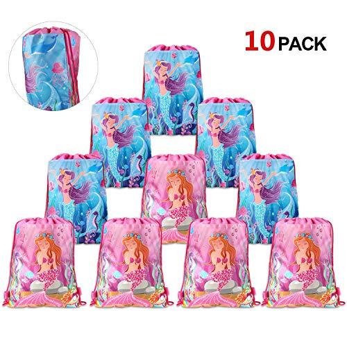 Howaf Lot 10 Sirena Bolsas Regalo Cumpleaños, Sirena Bolsa de Cuerdas para llenar Caramero piñata artículos de Fiesta de cumpleaños para Infantiles niños Niñas Regalos de Cumpleaños