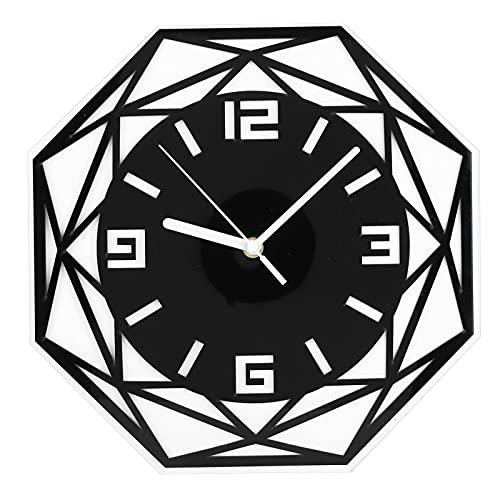 Reloj de Pared Hueco geométrico, Reloj de Pared con Espejo Ultra silencioso Material acrílico Pintura Segura de bajo Consumo de energía para sincronizar la decoración de Paredes