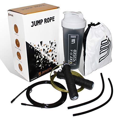 Jaylete Jump Rope Springseil mit Tasche - Ausdauer-Sport im Gym, Crossfit, Boxen, Fitness-Studio, HIIT, MMA, Kinder Seilspringen-Training - High Speed Rope Bearing