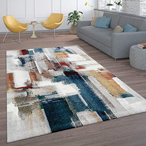 Paco Home Teppich, Kurzflor-Teppich Für Wohnzimmer, Abstraktes Modernes Design, In Bunt, Grösse:160x230 cm
