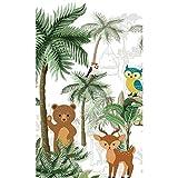 Plage Papel Pintado PANORAMICO Infantil Jungla con Animales del Bosque, Verde, 1,5X 2,5m
