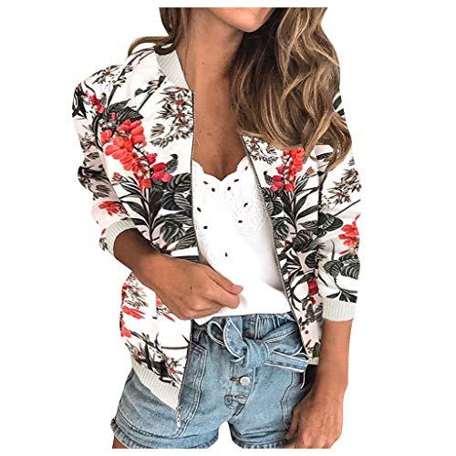 YTZL Jassen dames kort bomberjack zomer bloemen lange mouwen jas dames dunne overgang zomerjas licht bont cardigan bolero feestelijke jas zomerjassen ritssluiting outwear korte jas, wit, XL