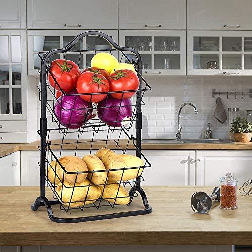 Sunny Living 2 Tier Metal Fruit Basket,Hanging Storage Basket on Counter top,Wire Basket,Black