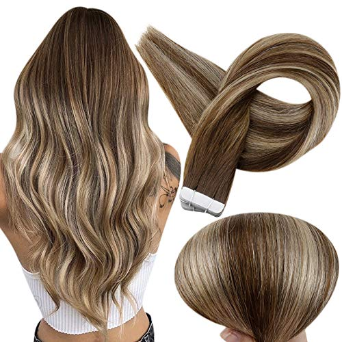 Fshine Tape In Human Hair Extensions 18 Inch Balayage Color 4 Fading to 24 Caramel Blonde and 4 Medium Brown Tape In Hair Extensions 50 Grams Glue In Real Hair Extension 20 Pcs