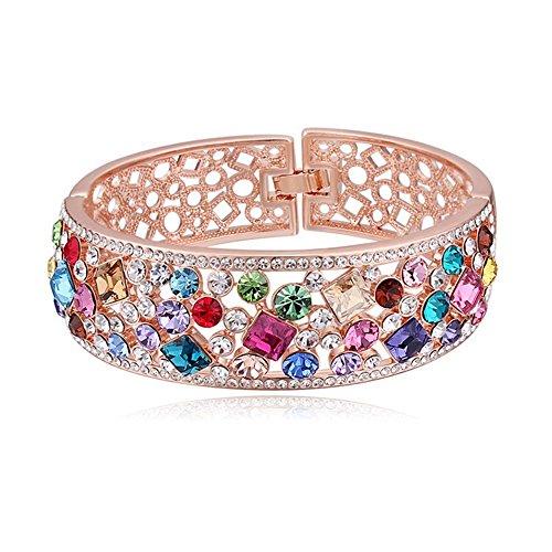 Bungsa® Armreif India rosegoldfarben - Zauberhafter durchbrochener ARMREIF für Damen mit vielen bunten Kristallen besetzt - Frauen Rosegold - Regenbogen Armband Bracelet Bangle Bollywood