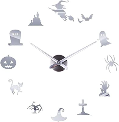 SKHGY Creative Wall Clock Mirror Wall Clock Halloween Home Decoration
