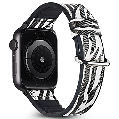Estuyoya - Pulsera Hibrida Animal Print compatible con Apple Watch Diseño Salvaje Exclusivo Cierre Hebilla Acero Inoxidable para 38mm 40mm...