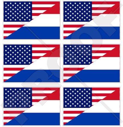 Lot de 6 mini autocollants en vinyle pour téléphone portable Motif drapeau américain et néerlandais, Hollande 40 mm