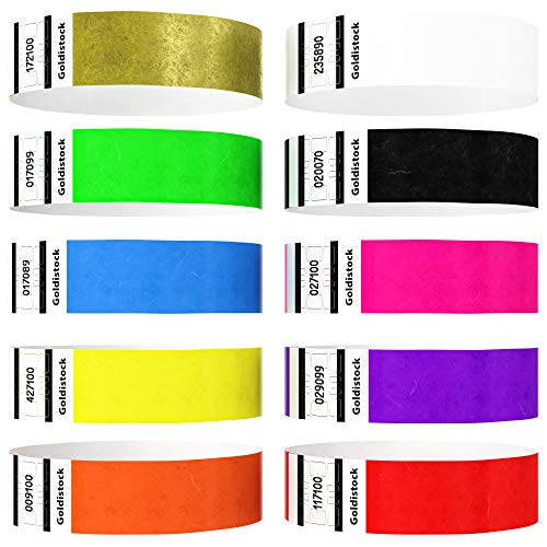 """Heavier Tyvek Wristbands 7.5 Mil– Goldistock """"Top 10"""" 5,000 Ct. Variety Pack- ¾"""" Arm Bands- 500 Each: Green, Blue, Red, Yellow, Orange, Purple Etc.- Paper-Like Party Armbands- Event Wrist Bands"""