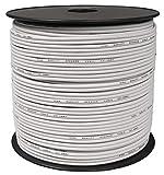 toolcity Cable de Altavoz (Zwilling Litz) 2x 1,50mm² (Box Cable/Cable de Audio, 100m) Color Blanco
