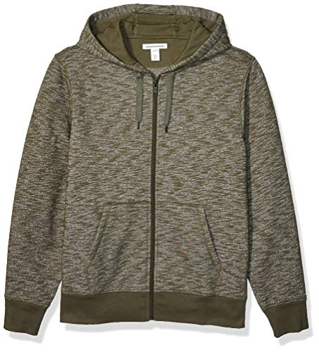 Amazon Essentials Men's Full-Zip Hooded Fleece Sweatshirt, Olive Space-Dye Large