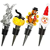 Glass Holiday Wine Bottle Stoppers - Holiday Pack - Christmas, Thanksgiving, Halloween, Easter - Decorative, Handmade, Eye-Catching Wine Stoppers - Wine Gift for Host/Hostess - Wine Corker/Sealer
