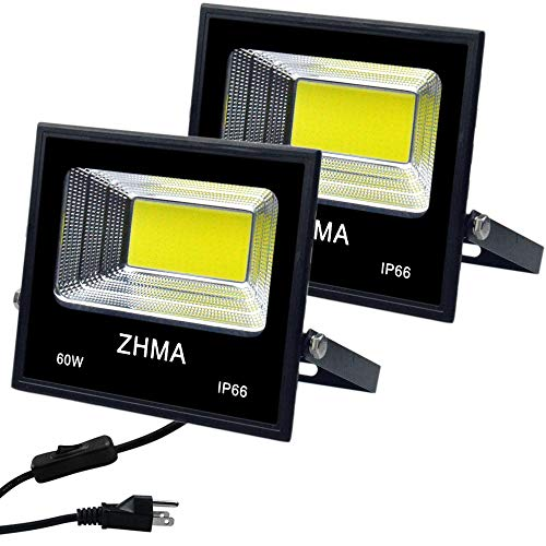 ZHMA 2 Pack 60W LED Flood Lights with Plug & Switch,IP65 Waterproof LED Work Light,5400lm Super Bright Outdoor Security Lights,for Backyard,Garage,Playground, Basketball Court