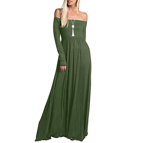 1763c032691 Amoretu Womens Casual Long Sleeve Off Shoulder Maxi Long Dress with Pocket
