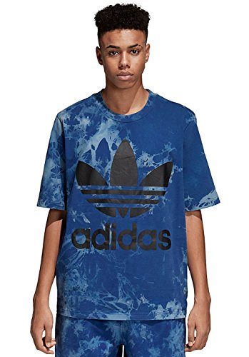 adidas, Maglietta da Uomo Tie-Dye Trefoil, Uomo, Maglietta da Uomo, CW1334, Color Inchiostro Legink, S