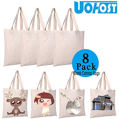 8 PCS Sublimation Blank Canvas Bags Resuable Washable Grocery Shopping Tote Bags for DIY by UOhost