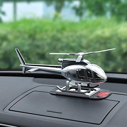 QFERW Auto innenNeue Kreative Hubschrauber Flugzeug Dekoration hochwertigem Metall Geschenk Solar Parfüm Flugzeug Ornament, schwarz