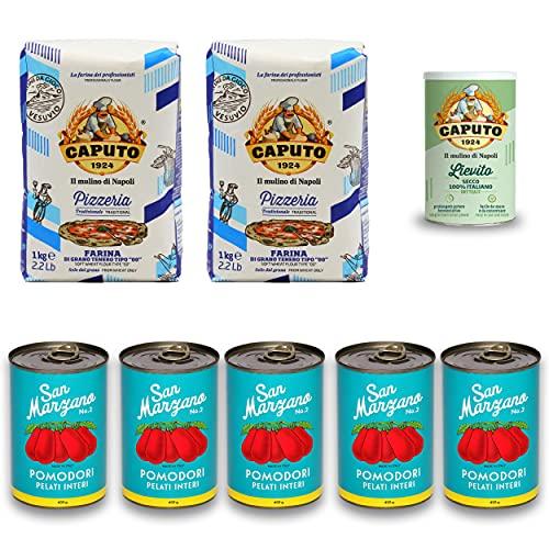 DELICRET - 2kg Caputo Pizzamehl | 100g Caputo Trockenhefe | 5x 400g San Marzano Tomaten Dosen | +NEAPOLITANISCHE REZEPTE (mit Hefe)