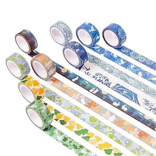 NLR 京都風 マスキング 和紙 テープ セット [繁栄のサマー] 9ロール | 幅15mm | スクラップブック、箇条書...