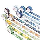 NLR 京都風 マスキング 和紙 テープ セット [繁栄のサマー] 9ロール | 幅15mm | スクラップブック、箇条書き ジャーナル、フォトフレーム 用 美術 工芸
