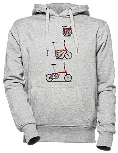 Yo Amor Mi Plegable Brompton Bicicleta Unisexo Hombre Mujer Sudadera con Capucha Gris Unisex Men's Women's Hoodie